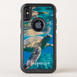 Meeresschildkröte, die nahe Riff schwimmt OtterBox Commuter iPhone X Hülle