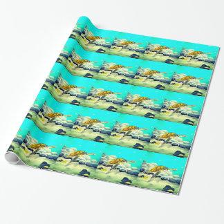 Meeresschildkröte, die schönes blaues Meer malt Geschenkpapier