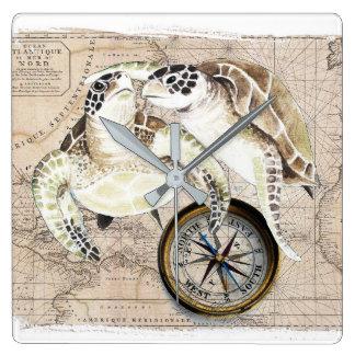 Meeresschildkröte-Kompass-Karte Quadratische Wanduhr