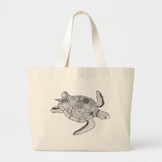 Meeresschildkröte-Linie Kunst-Entwurf Jumbo Stoffbeutel