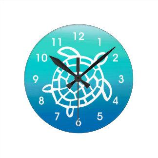 Meeresschildkröte-Ozean-Aquarell-Wanduhr Uhren