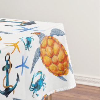 Meeresschildkröte-und Anker-Tischdecke Tischdecke