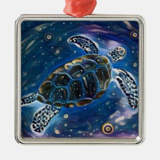 Meeresschildkröte-Universum-Aquarell-Verzierung Silbernes Ornament