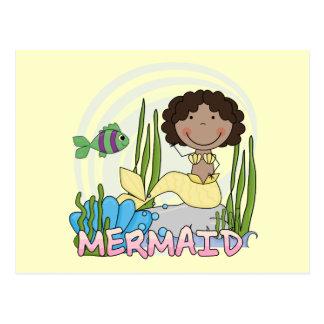 Meerjungfrau - Afroamerikaner-T-Shirts und Postkarte