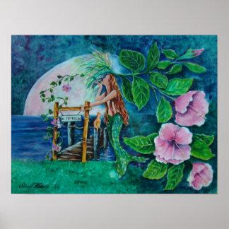 Meerjungfrau an der Mond-Aufstiegs-Acrylmalerei Poster