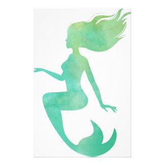 Meerjungfrau-Aquarell Briefpapier