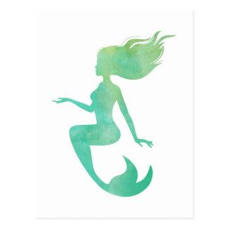 Meerjungfrau-Aquarell Postkarte