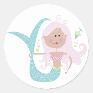 Meerjungfrau-Aufkleber Runder Aufkleber