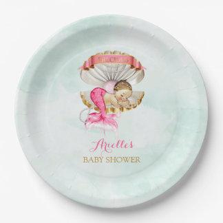 Meerjungfrau-Baby-Muschel-MuschelTiara perlt rosa Pappteller