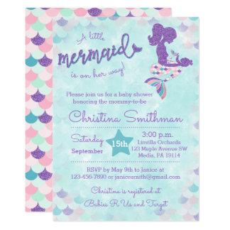Meerjungfrau-Babyparty-Einladungen für ein Baby 12,7 X 17,8 Cm Einladungskarte