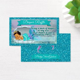 Meerjungfrau-Babyparty-WindelRaffle etikettiert Visitenkarte