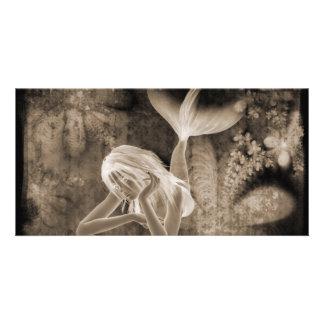 Meerjungfrau-Brown-Negativ des Fraktal-Hintergrund Bilderkarte