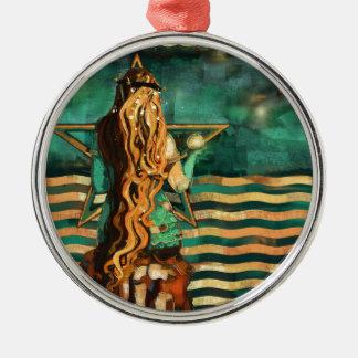 Meerjungfrau durch das Meer mit Mond und Sternen Silbernes Ornament