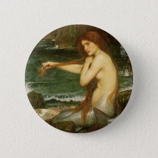 Meerjungfrau durch JW Waterhouse, viktorianische Runder Button 5,7 Cm
