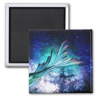 Meerjungfrau-Flosse im sternenklaren Nebelfleck Quadratischer Magnet