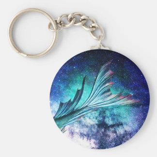 Meerjungfrau-Flosse im sternenklaren Nebelfleck Schlüsselanhänger