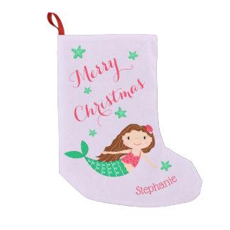 Meerjungfrau-frohe Weihnacht-personalisiertes Lila Kleiner Weihnachtsstrumpf