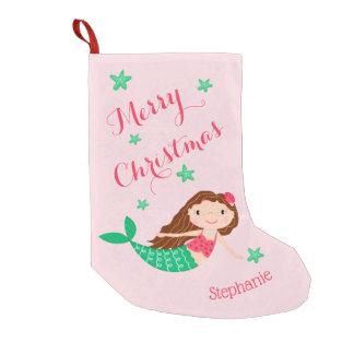 Meerjungfrau-frohe Weihnacht-personalisiertes Rosa Kleiner Weihnachtsstrumpf
