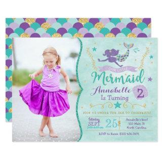 Meerjungfrau-Geburtstag laden mit Foto ein Karte