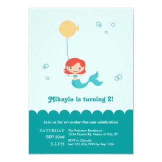 Meerjungfrau-Geburtstags-Einladung 12,7 X 17,8 Cm Einladungskarte