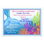 Meerjungfrau-Geburtstags-Einladungen 12,7 X 17,8 Cm Einladungskarte