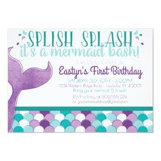 Meerjungfrau-Geburtstags-Party Einladung