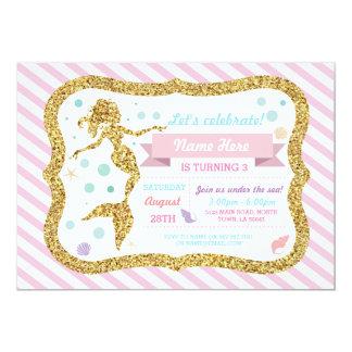 Meerjungfrau-GoldGlitter-Rosa-Streifen-Einladung Karte