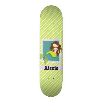 Meerjungfrau; Limone grüne u. weiße Streifen Skateboardbretter