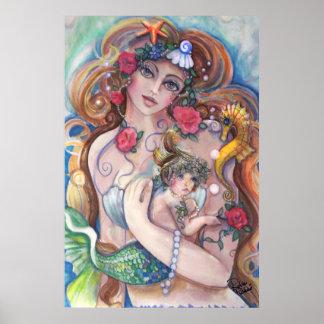 Meerjungfrau-Mamma und Baby Poster