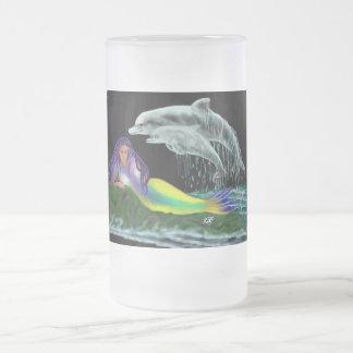 Meerjungfrau mit Delfinen Mattglas Bierglas