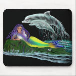 Meerjungfrau mit Delfinen Mauspad