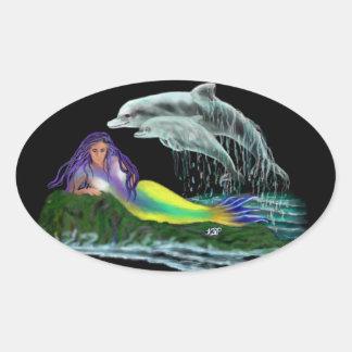 Meerjungfrau mit Delfinen Ovaler Aufkleber