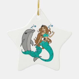 Meerjungfrau mit Delphin Keramik Stern-Ornament