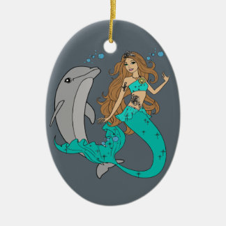 Meerjungfrau mit Delphin Ovales Keramik Ornament