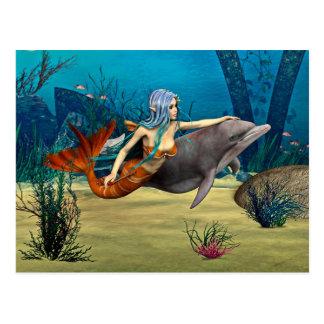 Meerjungfrau mit Delphin Postkarte