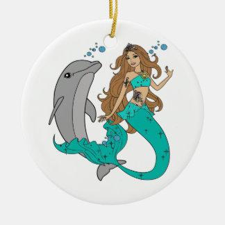 Meerjungfrau mit Delphin Rundes Keramik Ornament