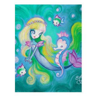Meerjungfrau mit Seepferd und -fischen Postkarten