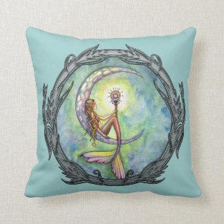 Meerjungfrau-Mond-Fantasie-Kunst-Wurfs-Kissen Kissen