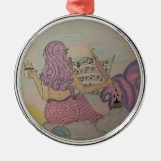 Meerjungfrau-Musik Silbernes Ornament