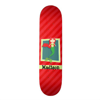 Meerjungfrau; Scharlachrot Rot-Streifen- Skateboarddecks