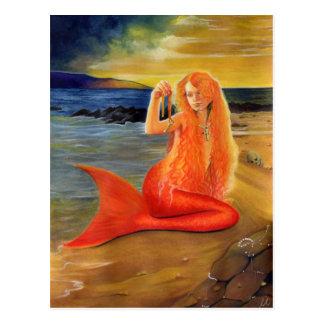 Meerjungfrau-Schlüsselsonnenuntergang-Postkarte Postkarte