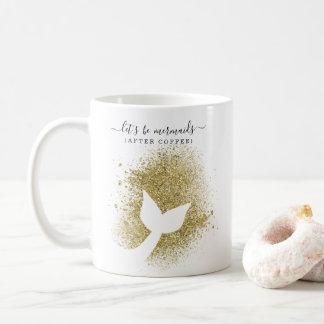 Meerjungfrau-Schwanz-Silhouette im GoldGlitzer Kaffeetasse