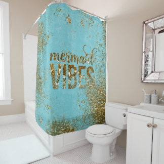Meerjungfrau Schwingungen GoldGlitter-Typografie Duschvorhang