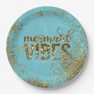 Meerjungfrau Schwingungen GoldGlitter-Typografie Pappteller