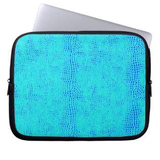 Meerjungfrau-Skala-blaues veganes Neonleder Laptopschutzhülle