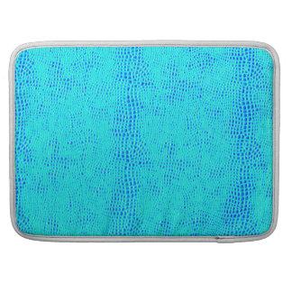 Meerjungfrau-Skala-blaues veganes Neonleder MacBook Pro Sleeve