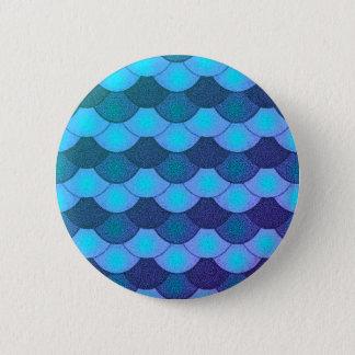 Meerjungfrau-Skalen - blaues Glühen Runder Button 5,7 Cm