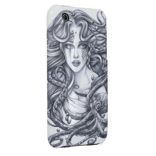 Meerjungfrau u. ihre Krake iPhone 3 Covers