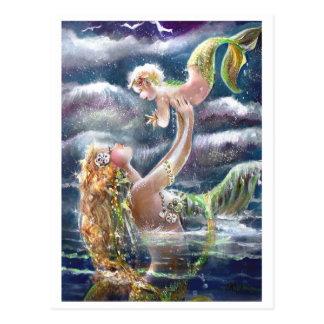 Meerjungfrau-u. Kinderpostkarte Postkarten