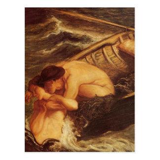 Meerjungfrau u. Seemann in Meer Postkarte